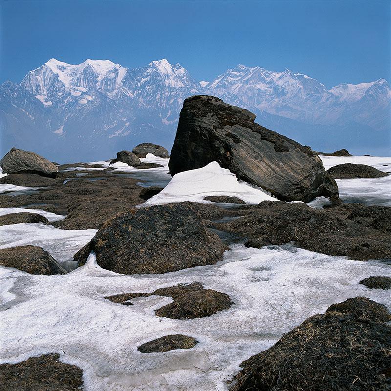 Vue sur le Nilgiri Himal (montagnes bleues), 7000 m - Népal