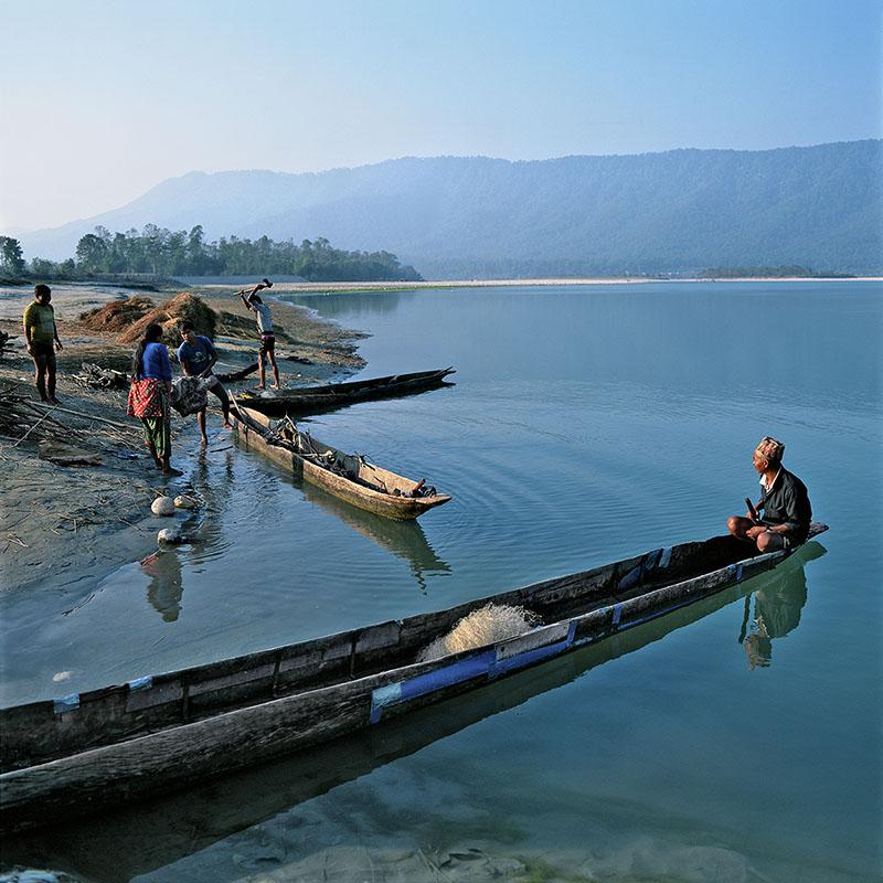 Barques de pêcheurs - Rivière Narayani - Narayangadh - Téraï, Népal