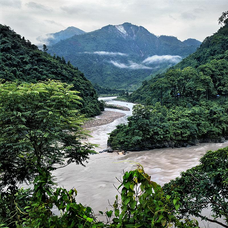 Ghaï ghat, confluence de la Trisuli et de la Seti Khola - Népal