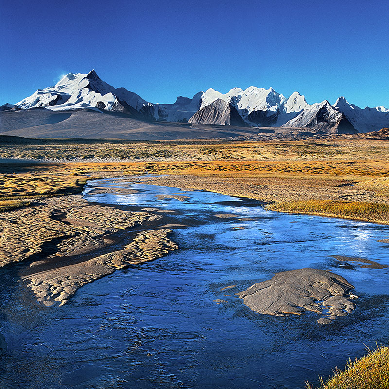 Le massif du Shishapangma, 8012 m - Vue depuis le plateau à 4850 m – Tibet
