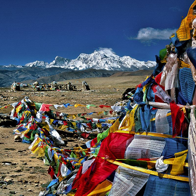 Thong-La, 5130 m. Au fond le Shishapangma, 8012 m - Tibet – Tibet